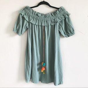 Nwt Umgee Off The Shoulder Mini Dress Pom Pom